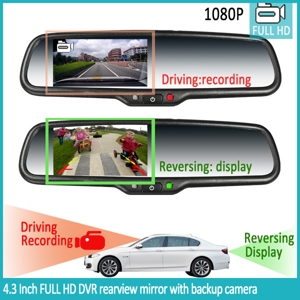REAR VIEW INTERIOR MIRROR WITH CAMERA DISPLAY AUTO DIM MIC OPTIONS OEM USED