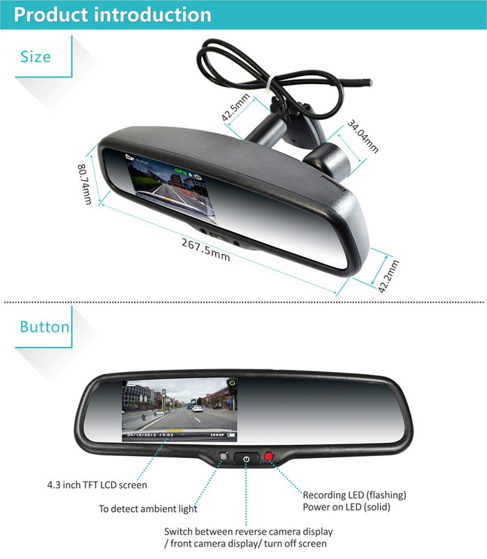 1080p Dvr Rearview Mirror Monitor With Auto Dimming